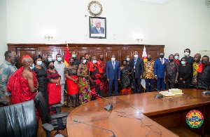 Elizabeth Asantewaa's family in a group picture with some MP's and Speaker