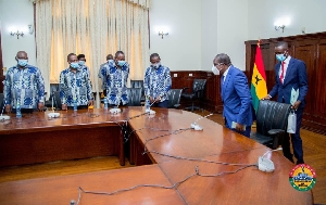 Speaker with the delegation from Legon Hall