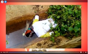 The body of the young lady in a drain