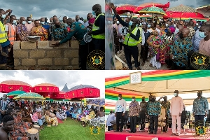 Pictures of President Akufo-Addo laying a block and others as part of his four-day visit