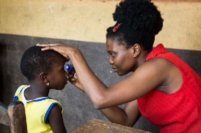 A girl's sight being checked