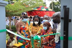 Ursula Owusu-Ekuful cutting the ribbon