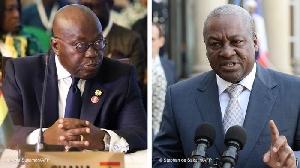 President Nana Akufo-Addo (L) and former President John Mahama (R)