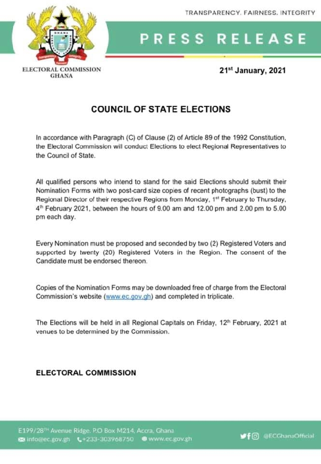EC to elect Council of State regional reps Feb. 12 1