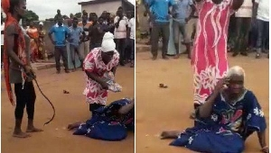 The old woman being lynched