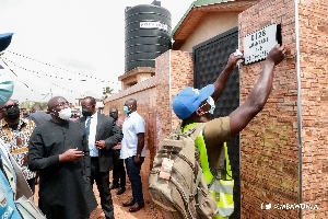 Vice-President Dr Mahamudu Bawumia inspecting the installation of the address system