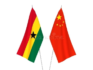 Ghana and Chinese flags