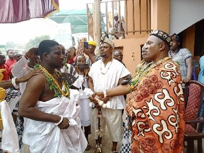 Nii Adjetey Obuobour II with one of the sub chiefs