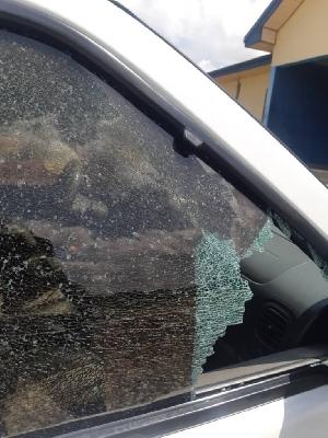 Shattered window of the bullion van