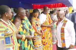 President Akufo--Addo greeting some dignitaries including Asantehene Otumfuo  Osei Tutu II